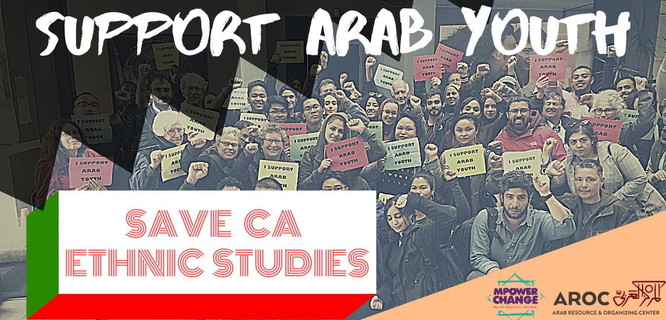 "Banner reading, ""Save CA Ethnic Studies."""