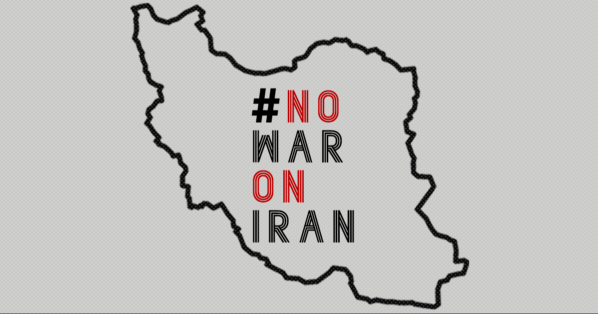 image depicting state of Iran with text overlaid #NoWarOnIran